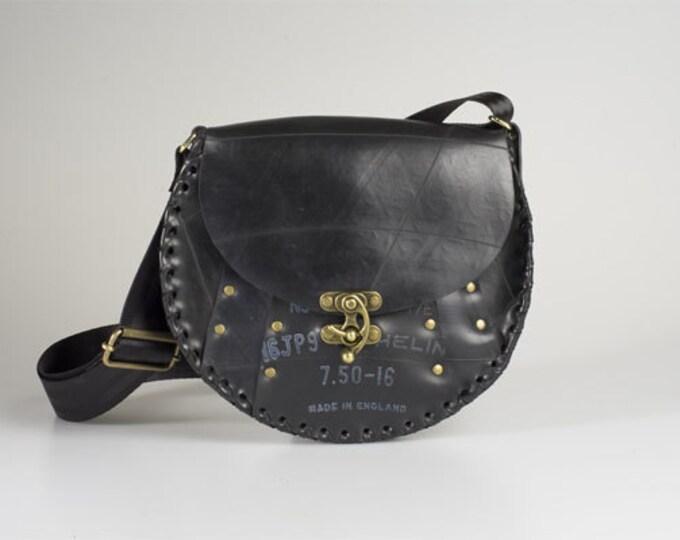 Round Satchel - Designer upcycled inner tube handbag - Waterproof Eco Fashion.