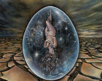 Return Of The Primordial Goddess- small paper print of a 2013-14 oil painting by Emily Kell