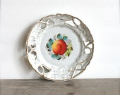 Vintage China Ceramic  Plate Dish Scalloped Cut Out Edge Peach