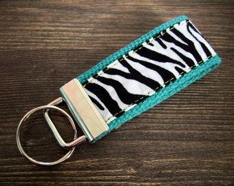 SO FUN 'Zebra and Turquoise' Mini Key Fob Keychain