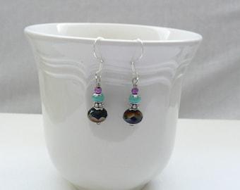 ndb-Purple and Turquoise Beaded Dangle Earrings