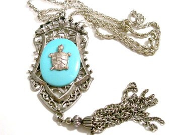 1960's Southwestern Native American Pendant Necklace, Silver Tone, Turtle Symbol, Faux Turquoise, Large Statement Piece, VisionsOfOlde