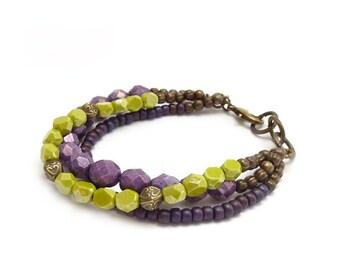Colorful Boho Bracelet - Purple, Lime Green Multistrand Bracelet Czech Glass Beads - Yoga Bracelet