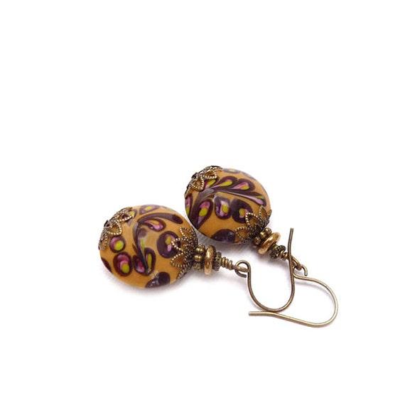 Mustard Lampwork Earrings - Rustic Colors - Wirewrapped Dangle Earrings - Bohemian Jewelry