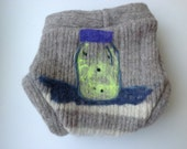 Lightning bugs  - Recycled Sweater Wool Diaper Cover Size L