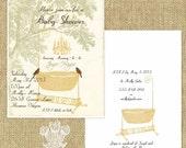 Crystal Grove Vintage Style Printable Baby Shower Invitation Gold DIY Editable PDF