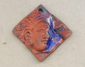 Ceramic Raku Pendant - Copper Satin and Cobalt Goddess