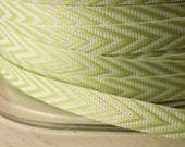 Chevron stripe Celery Green Chevron Twill Stripes Ribbon 1/4 inch wide 2 yards craft supply gift wrap wedding