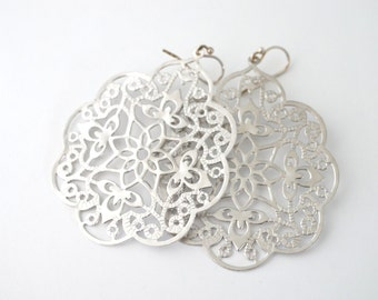 Large Silver Filigree Earrings, Silver Lace Earrings, Silver Filigree Earrings, Large Silver Earrings, Silver Statement Earrings
