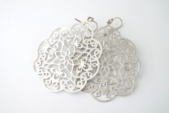 Large Silver Filigree Earrings, Silver Lace Earrings, Silver Filigree Earrings, Large Silver Earrings, Silver Statement Earrings