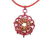 Pendant Red and Gold Chainmaille Leather Cord Necklace