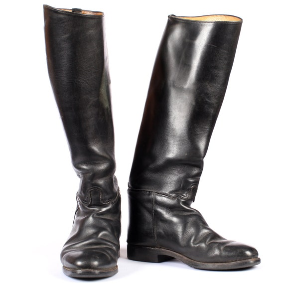 Vintage RIDING Boots . Mens Black Leather Jackboots Tall