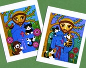 St. FRANCIS of Assisi with CATS & Dog Blank Note CARDS - Set of 4 -From Folk Art by Jill