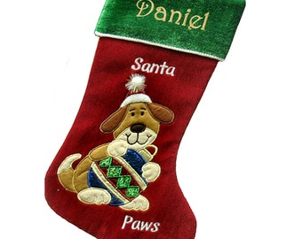 Personalized Holiday Dog Christmas Stocking - Santa Paws Dog Stocking Design Holding Christmas Ornament Cute Stockingfor Dogs Personalized