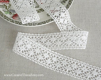 "15 1/2 Yards - Wide Cotton Lace - French Cotton Cluny Lace Insertion - Heavy French Lace - Bridal - Costuming - WHITE - 1"" Wide - No. 226"