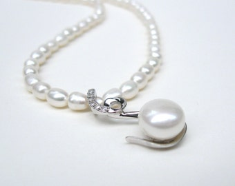 White Pearl Necklace, Sterling silver pendant, Pearl pendant necklace, Pearl drop necklace