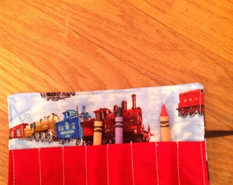 Crayon roll Cozy holder trains