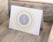 Fancy Circles Monogrammed Stationary - Personalized Stationery Thank You Notes Set of 12 - Custom Monogram Notecards