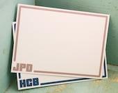 Flat Mens Initials Personalized Stationery - Thank You Notes Personalized Stationary Set of 20 Simple Classic Custom