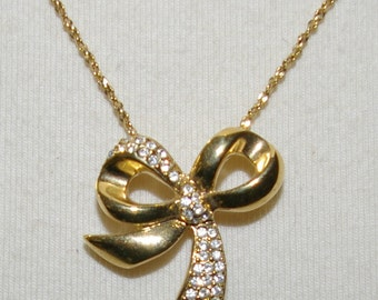 Rhinestone Bow Necklace, Gold Tone, Chain,  Vintage 1980's