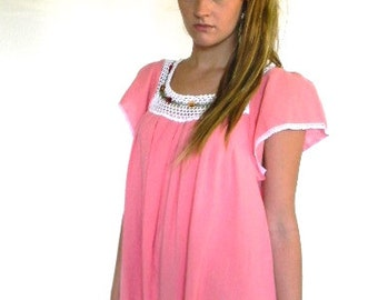 vintage. Mexican Coral Gauze Cotton Dress / S to M