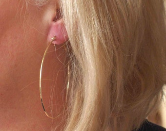 Big Gold Flat Front Hoop Earrings, 3 inch Hoops, 14k Yellow Gold Earrings, Hammered Mirror Finish Earrings, Modern Jewelry, Modern Earrings