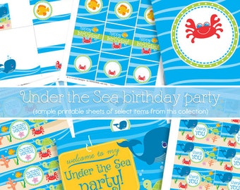 Under the Sea Party Decorations - Under the Sea Birthday Kit - Under the Sea Party Pack - PRINTABLE, INSTANT DOWNLOAD