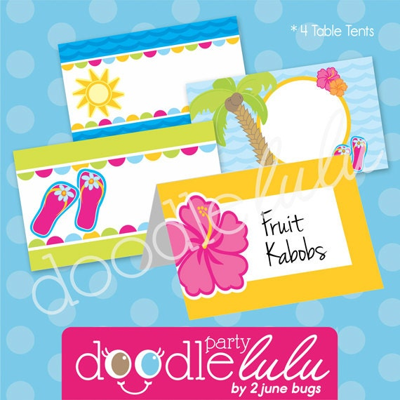 Luau Party Food Labels - Pool Party Buffet Cards - Luau Birthday ...