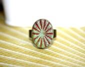 Rustic Czech Glass/Antique Bronze Adjustable Ring, Rustic Jewelry,