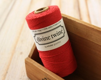 Solid RED Divine Twine 240yds SPOOL 4-ply cotton bakers twine string