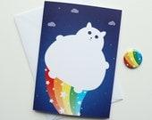 Nyan Cat Birthday card, Fat white Cat Birthday card, Fat Kitty Rainbow bum with Badge