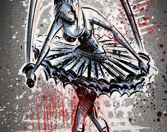 The Blood Splattered Ballerina Art Print ,Ninja, Samurai, Blood, Gore,Home Decor, Cartoon, Horror, Creepy, Illustration, Wall Art, girl