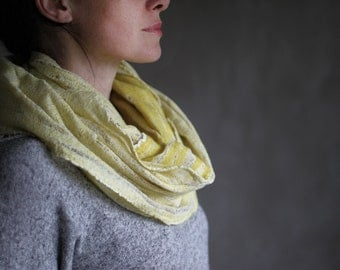 Lemon green chunky scarf felted cowl women neck warmer merino wool hood winter scarf white cotton infinity cowl loop scarf summer scarf