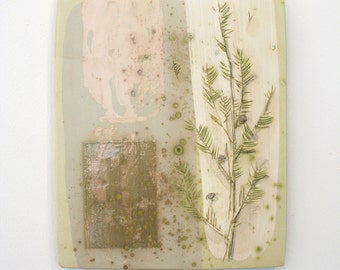 Hand painted decorative wall tile. Botanical, juniper, modern, rustic, earthy, chartreuse, tan, natural, neutral.