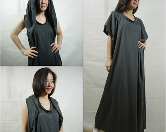 Funky Oversize Hood Cape Dress In Dark Charcoal Cotton Jersey
