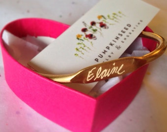 Personalized Vintage Brass Cuff Name Bracelet... Hand Engraved with Your Choice of any Word or Name For Free..