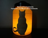 The Witches Familiar Black Cat Lantern Halloween Candle Holder- Black Cat Series