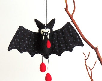 Halloween bat ornament black felt vampire bat plush with needle felted red blood drops