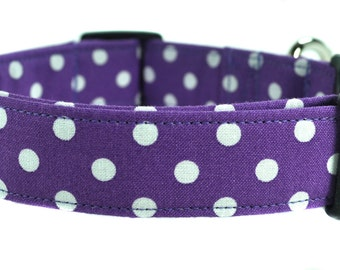 Purple Polka Dot - Dog Collar