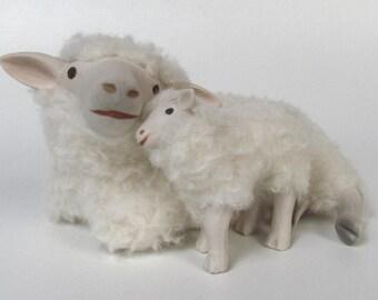 Irish Galway Ewe Lying Cheek to Cheek with Standing Lamb