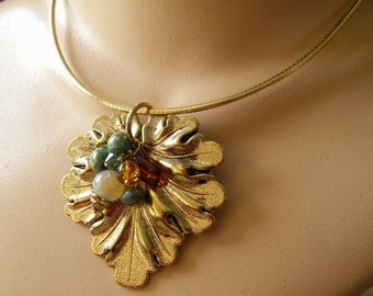 Large Gold Leaf and Beaded Pendant