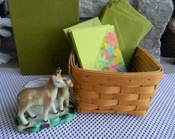 Longaberger basket Weddings decor tablesetting card Rustic Wedding decor Basket with vintage thank you envelopes