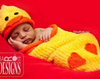 KNIT PATTERN Quacky Easter Ducky Baby Hat and Cocoon Set PDF Pattern, Instant Download