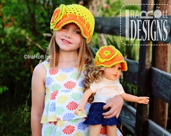 PATTERN Summer Beanie with Brim & Flower plus Brimless Option Crochet PDF Pattern