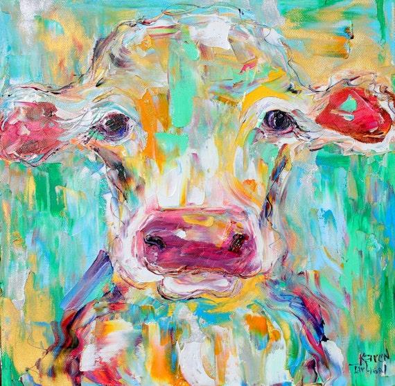 Original Oil Painting Portrait Of A Cow Palette Knife Impasto