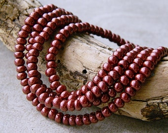 6/0 Auburn Brown Lustered Seed Beads, Rocailles seed beads, 4mm (20g)