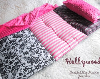 Hollywood Glitter Quilted Nap Mat by janiebee  Toddler Nap Mat  Daycare Nap Mat  Boutique Nap Mat Quilted Nap Mat