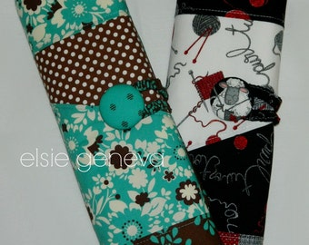 Straight Knitting Needle Case Spill Proof Organizer Roll Brown Teal Floral or Black Red Sheep  11 Inch 14 Inch Choose Any Fabric in My Shop