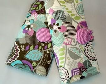 Floral Crochet Hook Case Brown Aqua Purple Green Add Optional Drawstring Bag Sewn in Zipper Pocket Amour Soft Grip Polymer Clay Ergonomic