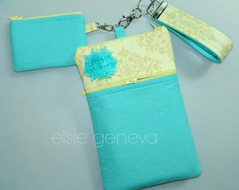Choose Any Fabric in My Shop eReader Aqua Yellow Damask Kindle Nook Galaxy Tablet Case w Wristlet  Bluetooth Halo Pouch